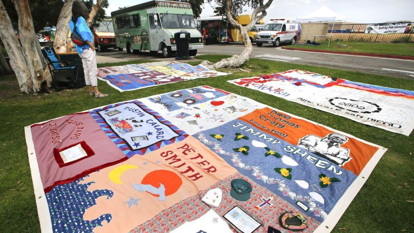 A display of AIDS memorial quilts at last year's South Bay Pride Art & Music Festival in Chula Vista.