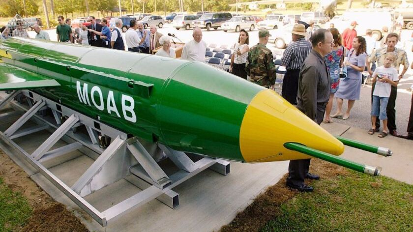 A GBU-43B is on display at the Air Force Armament Museum at Eglin Air Force Base in Florida in 2004.