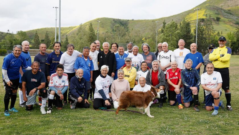 VENTURA, CA-APRIL 21, 2019: The over-60 soccer league poses for a portrait before playing a game at