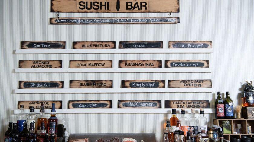 ENCINO, CA-May 1, 2019: The menu at Sushi Bar on Wednesday, May 1, 2019. (Mariah Tauger / Los Angele