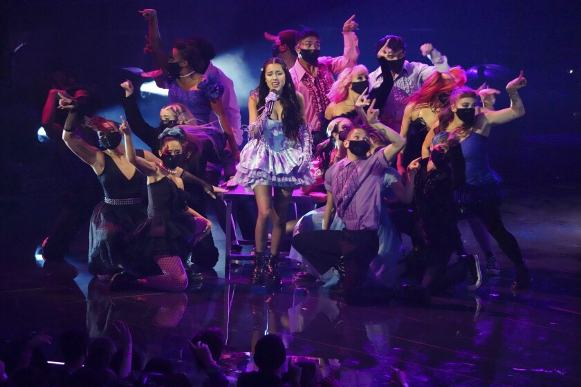 """Olivia Rodrigo performs """"Good 4 U"""" at the MTV Video Music Awards surrounded by dancers"""