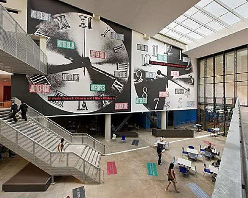 Conceptual artist Barbara Kruger's giant clocks installation dominates student center at UC San Diego.