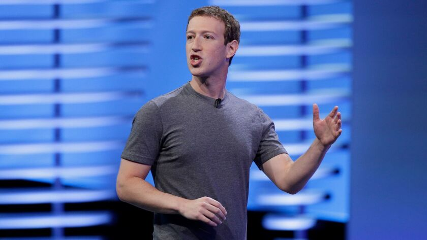 Facebook CEO Mark Zuckerberg delivers the keynote address at a conference in San Francisco on April 12.
