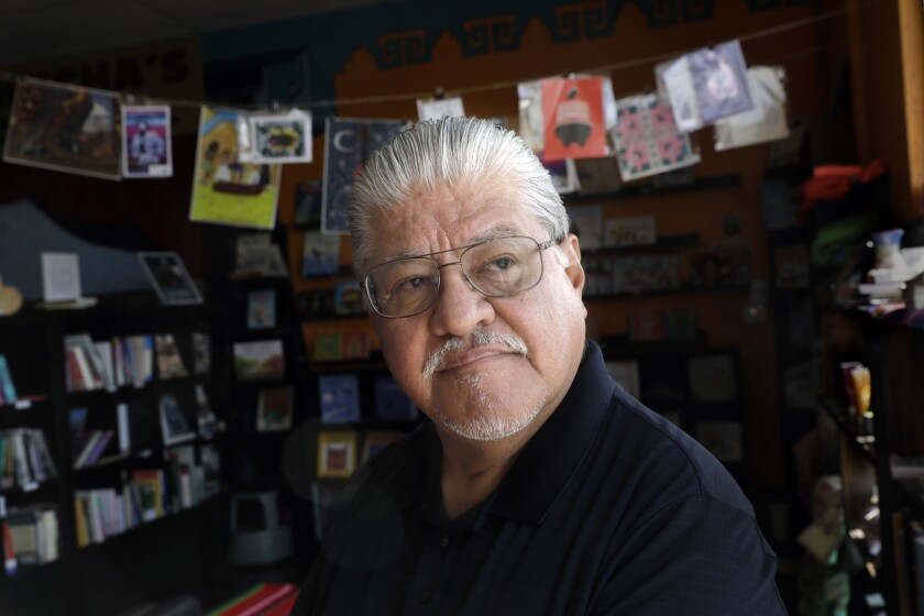 Author Luis J. Rodriguez at Tia Chucha's, the bookstore and cultural center he co-founded.