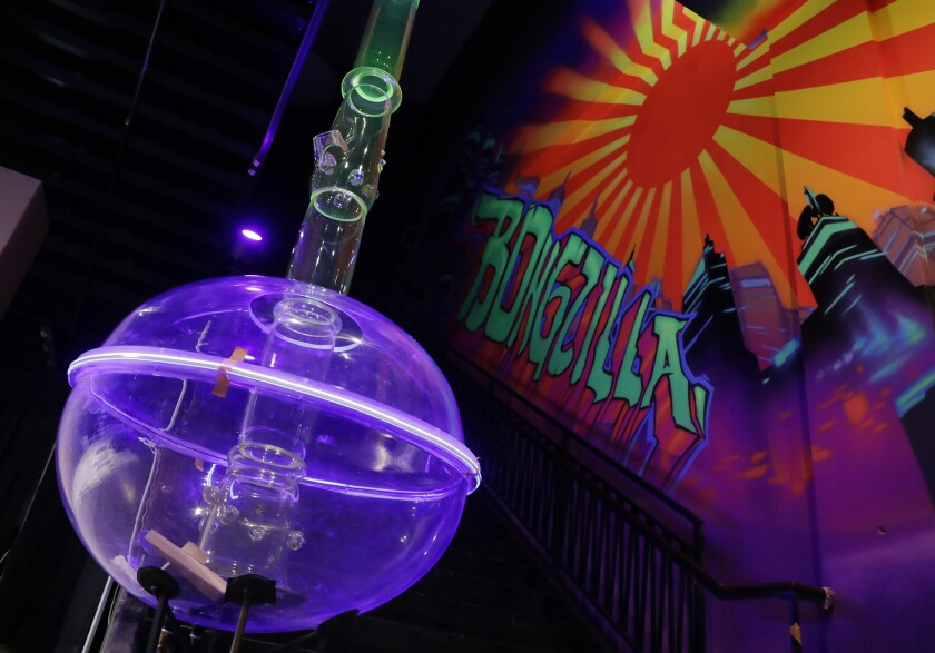 "A 24-foot-tall bong called ""Bongzilla"" at the Cannabition Cannabis Museum in Las Vegas."