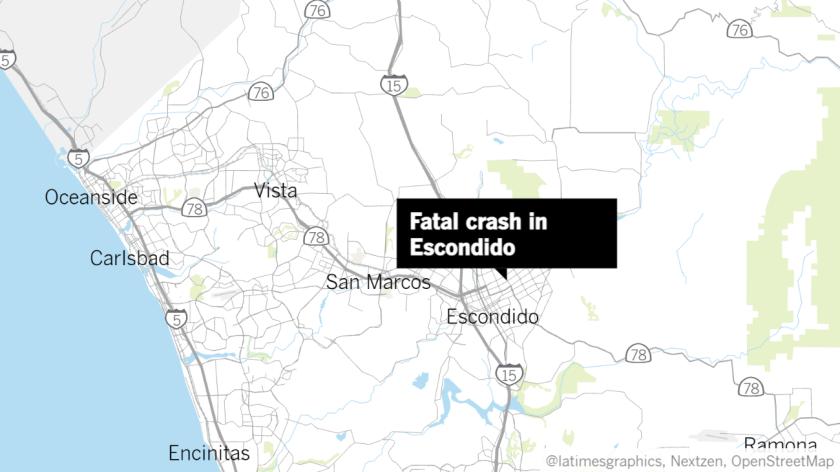 Map of fatal Escondido crash