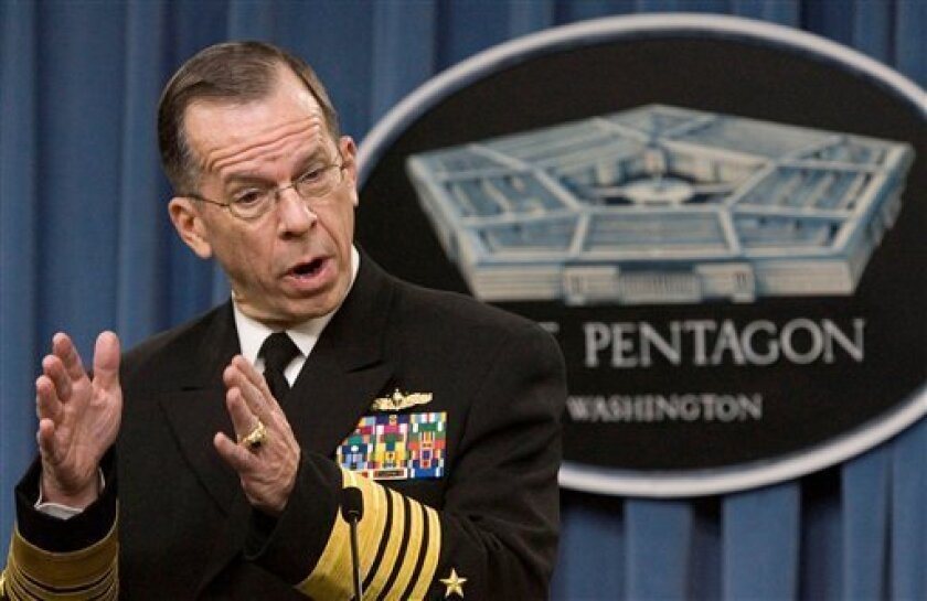 Chairman of the Joints Chiefs of Staff Adm. Michael Mullen, speaks to the media during a news briefing at the Pentagon, Wednesday, Dec. 10, 2008. Mullen said both India and Pakistan have shown admirable restraint following the deadly attack on the financial center of Mumbai, and that Pakistan has taken good first steps by arresting key militants who may have had a hand in planning the attack. (AP Photo/Manuel Balce Ceneta)