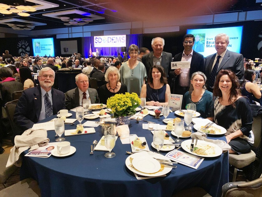 Members of the Poway Democratic Club attending the San Diego County Democratic Party's Roosevelt Dinner in 2019.