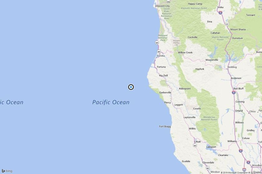 A map showing the location of the epicenter of Saturday morning's quake near Capetown, Calif..