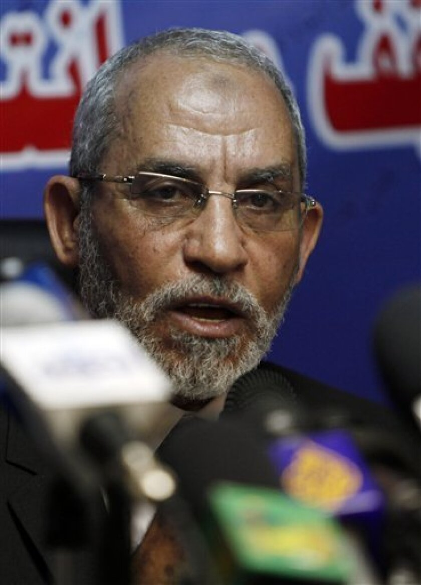 Leader of Egypt's Muslim Brotherhood, Mohammed Badie speaks during a press conference at the group's parliamentary office in Cairo, Egypt Saturday, Oct. 9, 2010. The largest and outlawed opposition movement's leader declared the group's position to take part in the upcoming parliamentary election in Egypt. (AP Photo/Nasser Nasser)