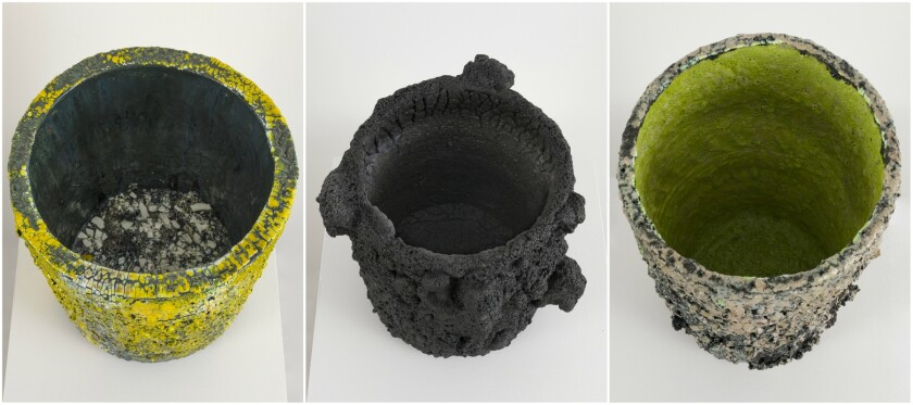 Tony Marsh's new untitled works on view at the Pit in Glendale are fired clay and ceramic vessels with a rough beauty.