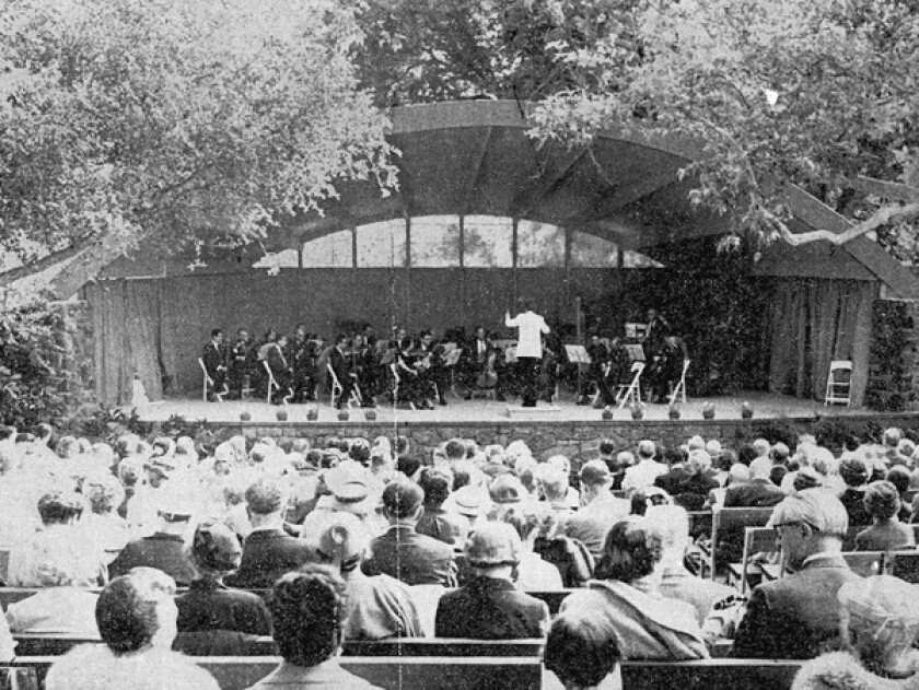 Aaron Copland leads an orchestra at Libbey Bowl during the 1957 Ojai Music Festival.