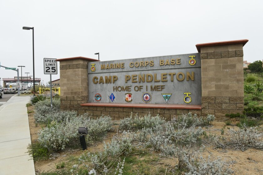 Camp Pendleton Marine Corps Base sign outside the main gate of the base in Oceanside.