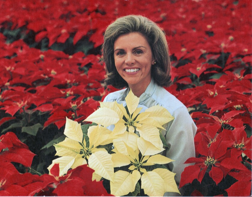 "Elisabeth ""Jinx"" Ecke photographed on the family's poinsettia farm in this undated photo."