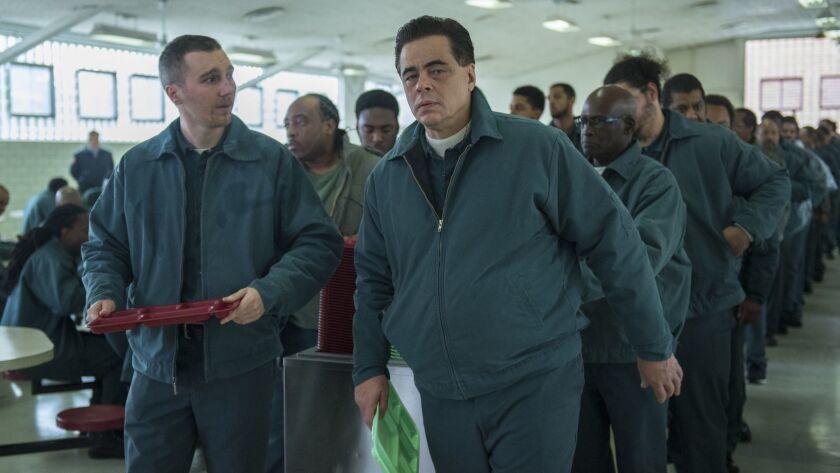 """Paul Dano as David Sweat and Benicio Del Toro as Richard Matt, convicts with a plan in Showtime's """"Escape at Dannemora."""""""