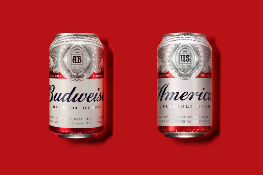 """Budweiser is renaming its beer """"America"""" to capitalize on three things central to American life: politics, sporting events and holiday weekends."""