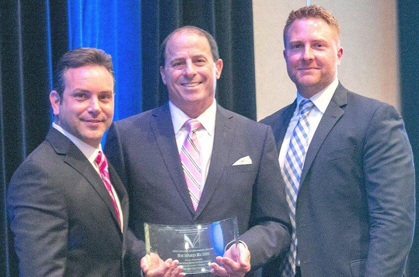 NSDBC board member Jason Cestaro (Mercedes-Benz of Escondido), Lifetime Achievement Award winner Rick Rubin (Michael Baker International) and Nathan Schmidt (San Diego County Credit Union).