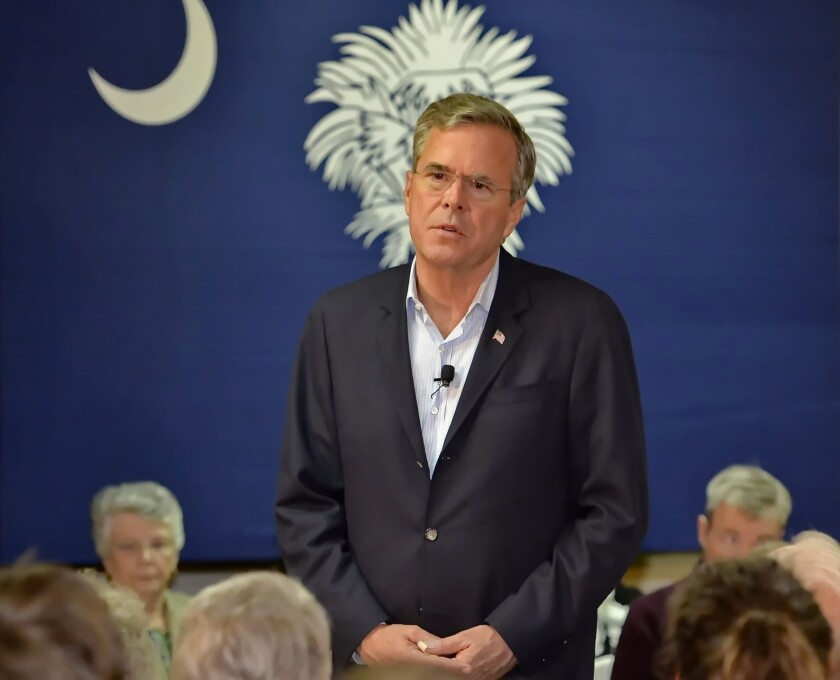 Republican presidential candidate Jeb Bush speaks during a town hall meeting at Dyar's Diner on Jan. 8 in Pendelton, S.C.