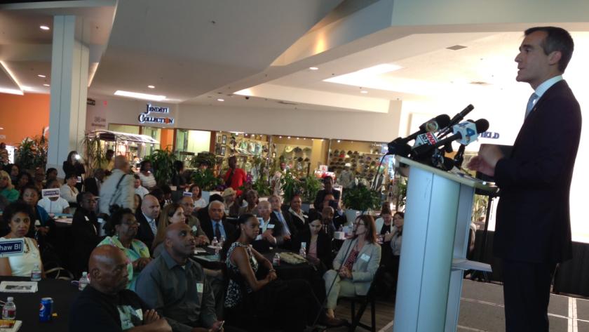 Mayor Eric Garcetti speaking Tuesday to a Crenshaw Chamber of Commerce lunch at Baldwin Hills Crenshaw Plaza.