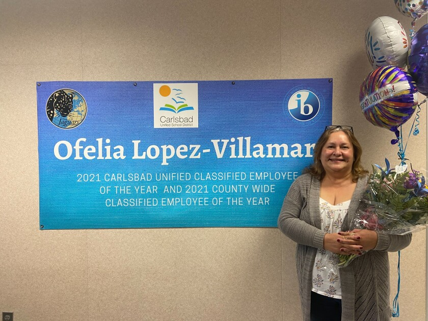 Ofelia Lopez-Villamar of the Carlsbad school district is the 2021 Classified Employee of the Year for San Diego County.