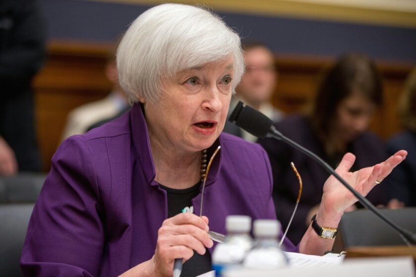 Federal Reserve Chair Janet Yellen testifies on Capitol Hill in Washington, Wednesday, Nov. 4, 2015, before the House Financial Services Committee hearing on banking supervision and regulation. Yellen said Wednesday that the Fed has not made a decision yet on whether to raise a key interest rate in