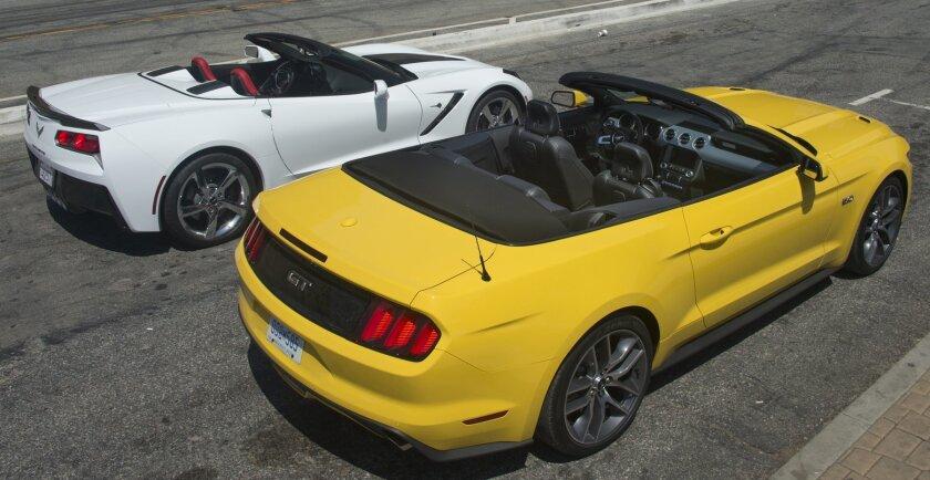 Corvette and Mustang droptops