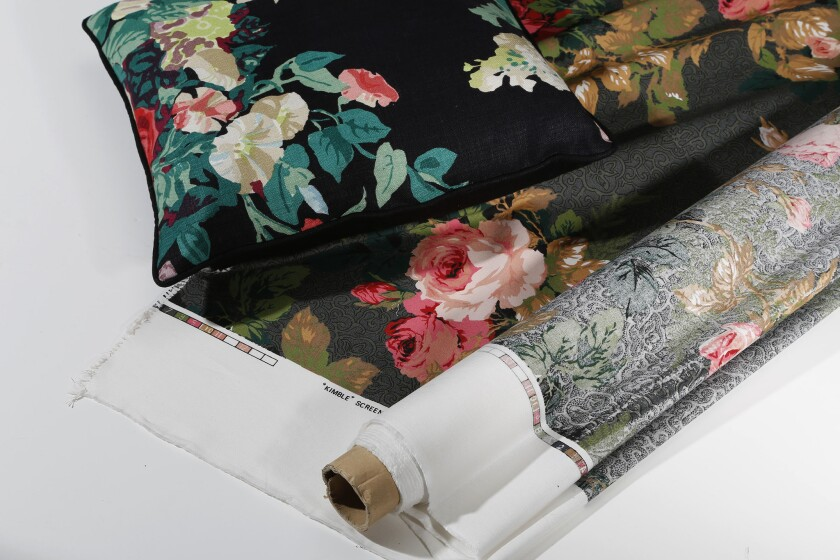 For an edgy floral look, try large blooms on dark backgrounds. The 17-inch square linen pillow from Furbish Studio ($90), is a homage to designer Rose Cumming, who created classic chintz fabrics, including Kimble, purchased from Offthefloornow.com.