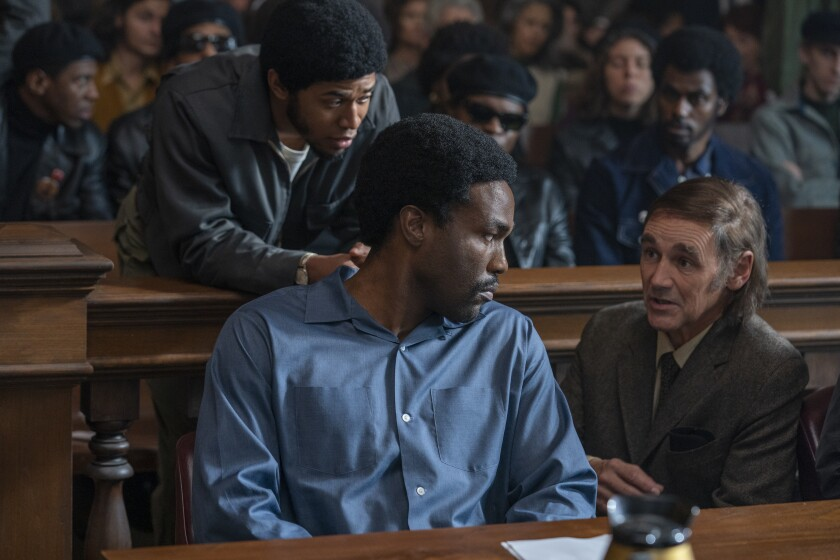 "Kelvin Harrison as Fred Hampton, Yahya Abdul-Mateen as Bobby Seale, Mark Rylance as William Kuntsler ""Trial of the Chicago 7"""