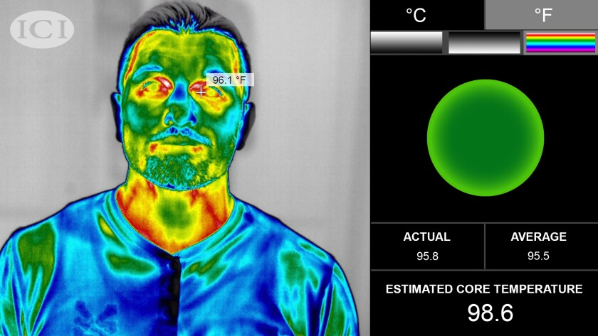 An image from a thermal camera made by  Infrared Cameras Inc.