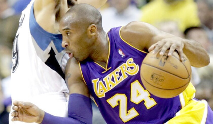 Kobe Bryant and the Lakers finally found some footing on the road with a 111-100 win over the Minnesota Timberwolves, L.A.'s first road win of 2013.