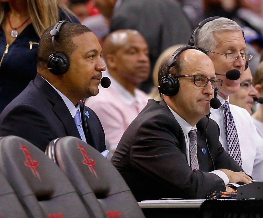 Former NBA head coaches and current commentators Marc Jackson, left, and Jeff Van Gundy work a Thunder-Rockets playoff game.