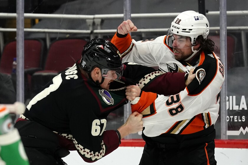 Arizona Coyotes left wing Lawson Crouse (67) and Anaheim Ducks center Derek Grant (38) fight in the first period during an NHL hockey game, Monday, Feb. 22, 2021, in Glendale, Ariz. (AP Photo/Rick Scuteri)