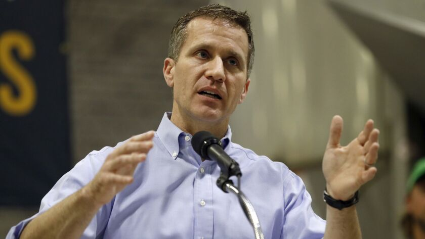 FILE - In this Jan. 29, 2018, file photo, Missouri Gov. Eric Greitens speaks in Palmyra, Mo. Greiten