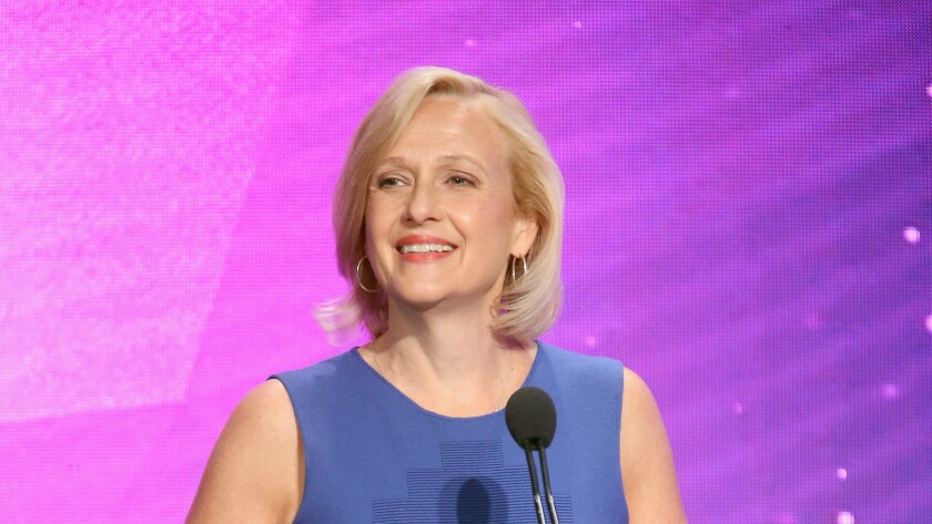 President and CEO of PBS Paula Kerger speaks during the 2016 Television Critics Association Summer Tour on July 28, 2016, in Beverly Hills.