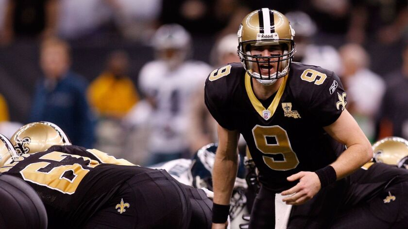 Drew Brees #9 of the New Orleans Saints during the NFC divisional playoff game at the Superdome on J