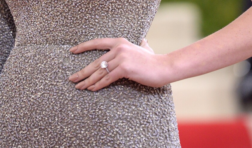 Kate Upton flashes her new bling at the 2016 Met Gala on Monday in New York
