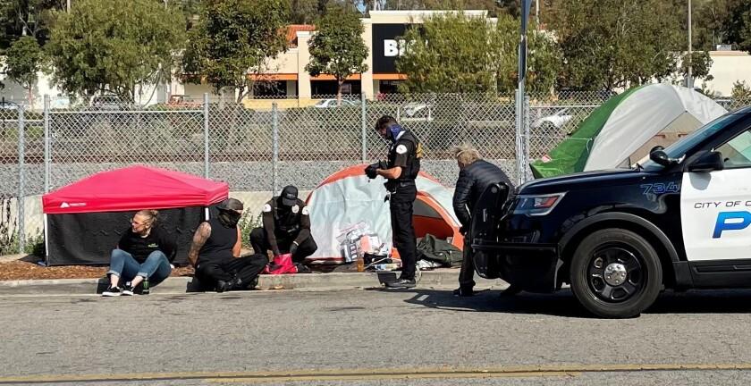 A homeless encampment on the south side of Oceanside Boulevard.
