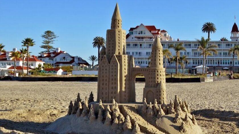 CORONADO, CA: Coronado Beach with the Hotel Del Coronado in the background and amazing sandcastles f