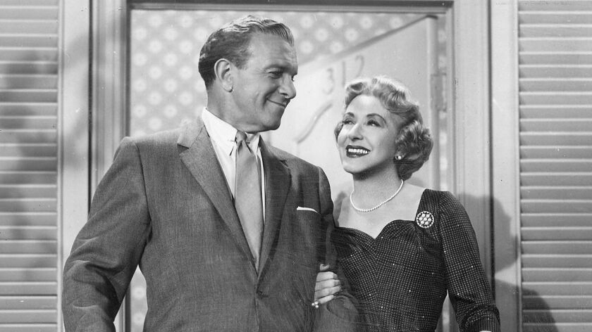 George Burns and Gracie Allen on the set of their TV show.