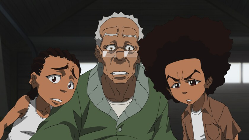 """Riley, left, Granddad and Huey in season four of animated TV series """"The Boondocks."""""""