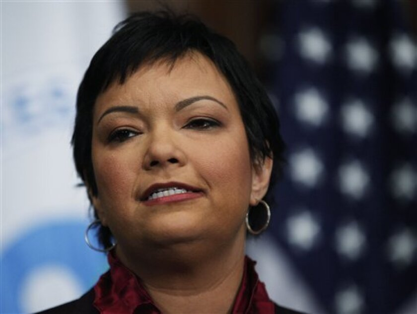Environmental Protection Agency Administrator Lisa Jackson makes announcement on climate during a news conference in Washington, Monday, Dec. 7, 2009. The EPA took a major step Monday toward regulating greenhouses gases, concluding that climate changing pollution threatens the public health and the environment. (AP Photo/Manuel Balce Ceneta)