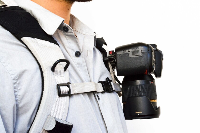 The Capture Camera Clip System attaches easily to your backpack.
