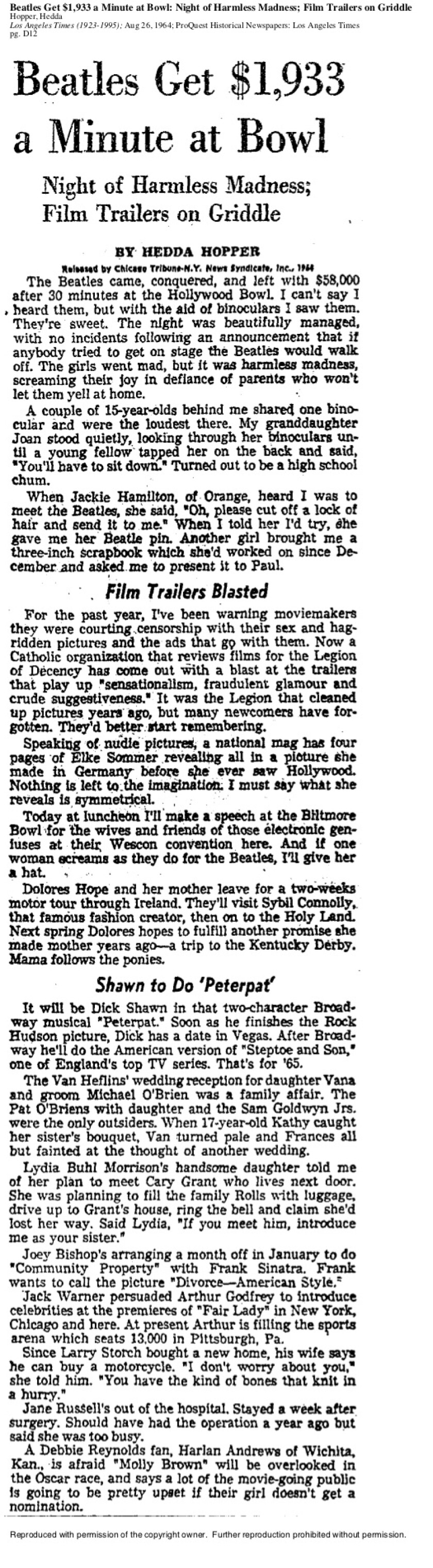 August 26, 1964: Times' gossip columnist Hedda Hopper wrote a tongue-in-cheek column about the Beatles' appearance at the Hollywood Bowl that summer.
