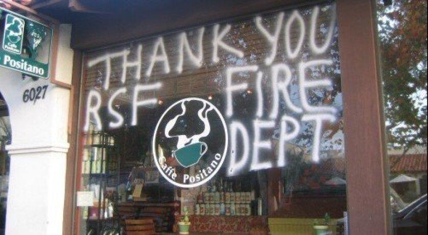 A message of gratitude at Caffe Positano