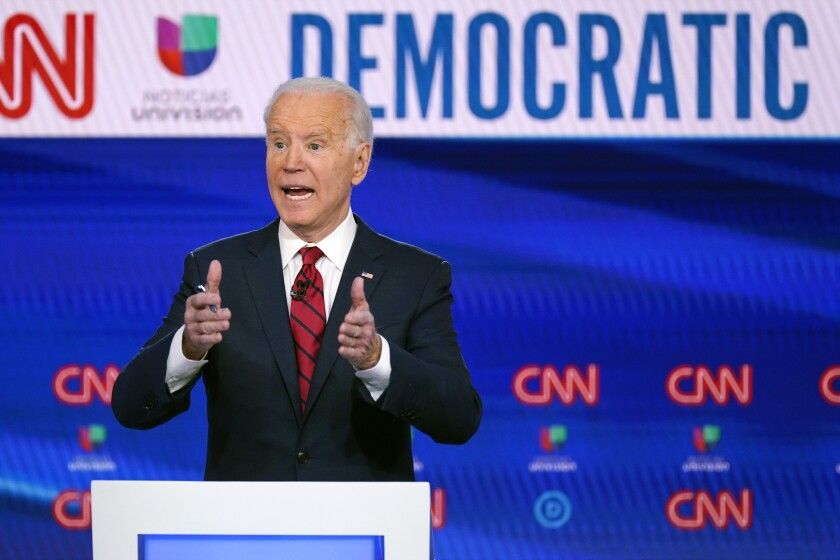 Former Vice President Joe Biden participates in a Democratic presidential primary debate on March 15.