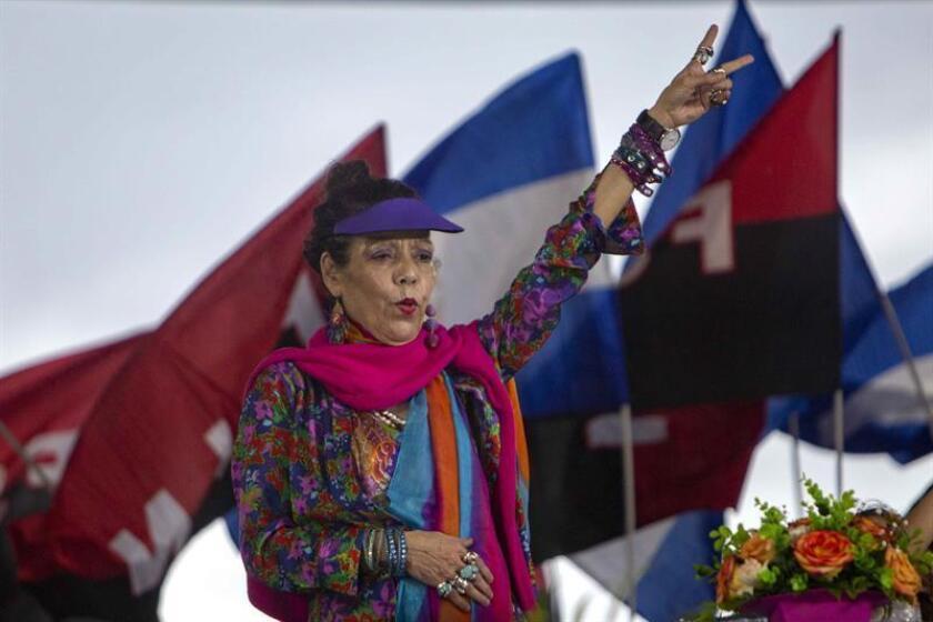 El Gobierno anunció hoy nuevas sanciones por la represión en Nicaragua contra la vicepresidenta y primera dama del país, Rosario Murillo, y contra Néstor Moncada Lau, asesor de seguridad nacional del presidente, Daniel Ortega. EFE/Archivo