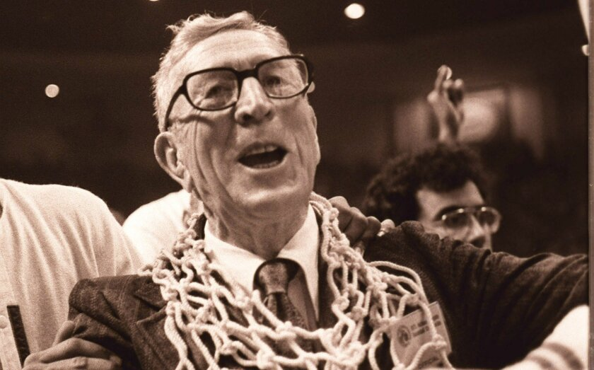 John Wooden celebrated after winning the 1975 Final Four at the San Diego Sports Arena. It was Wooden's final game.