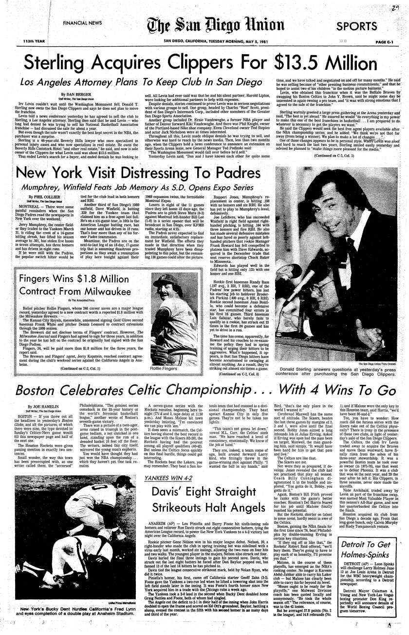 """""""Sterling Acquires Clippers"""" headline published in The San Diego Union, May 5, 1981."""