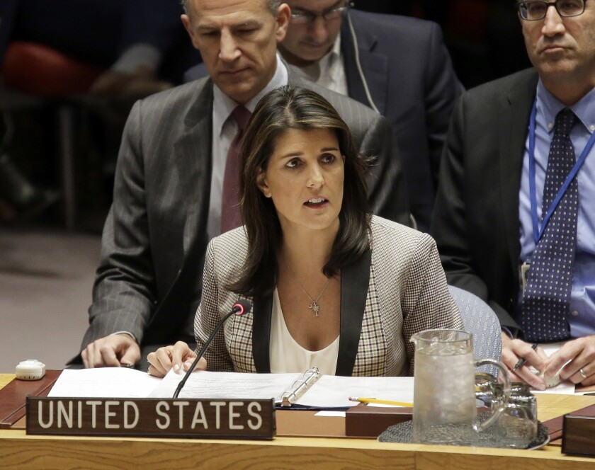 FILE-In this Monday, Nov. 26, 2018 file photo, United States Ambassador to the United Nations Nikki Haley speaks during a security council meeting about the escalating tensions between the Ukraine and Russia at United Nations headquarters. Haley is moving back to her native South Carolina, re-establishing a home base and also fueling speculation that a return to politics is next on her to-do list. The 47-year-old former South Carolina governor, who left office in 2017 to join the Trump administration, closed Friday, Sept. 20, 2019 on a home on Kiawah Island, according to Alex Malloy, a spokeswoman for Kiawah Island Real Estate.(AP Photo/Seth Wenig, File)