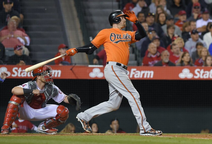 Baltimore Orioles' Matt Wieters follows through on a three-run home run as Los Angeles Angels catcher Jett Bandy watches during the ninth inning of a baseball game Saturday, May 21, 2016, in Anaheim, Calif. The Orioles won 3-1. (AP Photo/Mark J. Terrill)